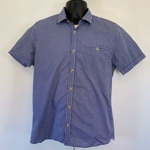 Ted Baker London blue checkered s/s button-down